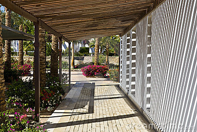 Outdoor walkway at hotel