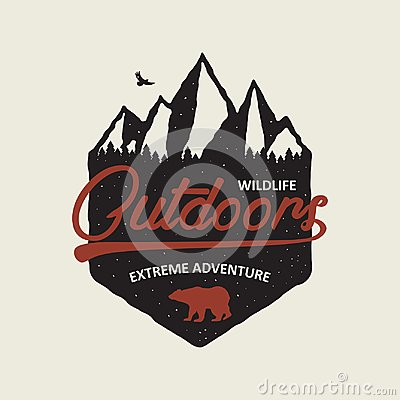 Outdoors adventure typography graphic for t-shirt. Vintage print with mountains, forest and bear. Tee shirt design with mountain Vector Illustration