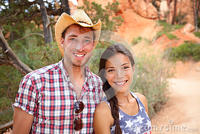 Outdoors couple portrait in american countryside