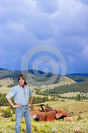 Outdoors Man in American West Landscape