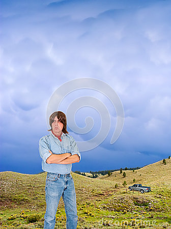 Outdoors Man With Pickup Truck in Wild Nature