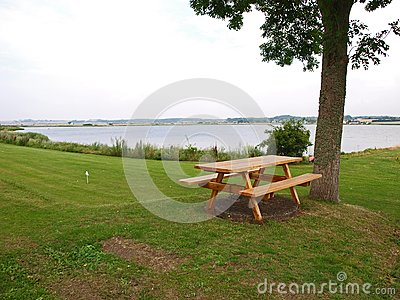 Outdoors Picnic tables by the sea
