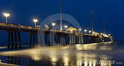 Outer Banks Fishing Pier at night