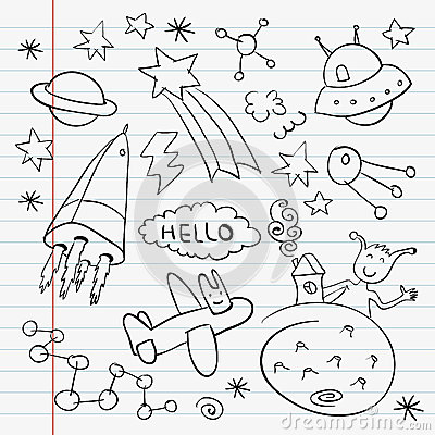 Outer space doodle notebook set