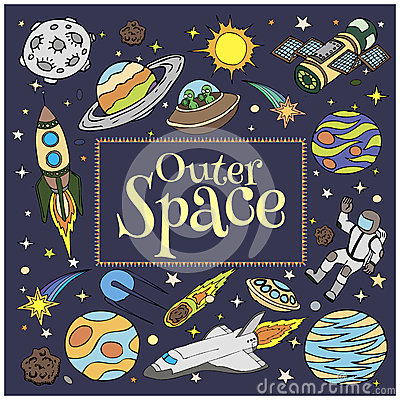 Outer Space Doodles Symbols And Design Elements Spaceships Ufo