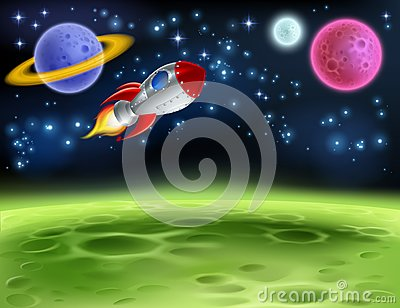 Outer Space Planet Cartoon Background Vector Illustration