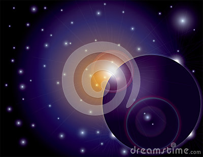 Outer Space Sun Flare on Planet Background