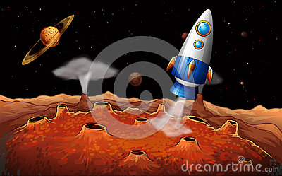 An outerspace with a rocket