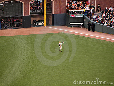 Outfielder Cody Ross throws ball to warm up Editorial Stock Photo
