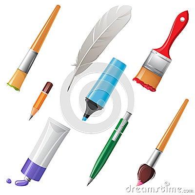 outils d 39 criture et de peinture photo libre de droits image 33281825. Black Bedroom Furniture Sets. Home Design Ideas
