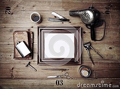 outils de vintage de salon de coiffure avec le vieux cadre de tableau photo stock image 53376250. Black Bedroom Furniture Sets. Home Design Ideas