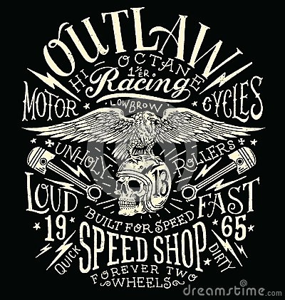 Free Outlaw Motors Vintage T-shirt Graphic Royalty Free Stock Photography - 114022407