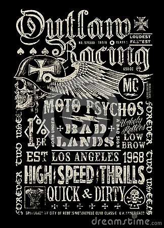 Free Outlaw Racing Vintage Poster T-shirt Graphic Royalty Free Stock Images - 45324339