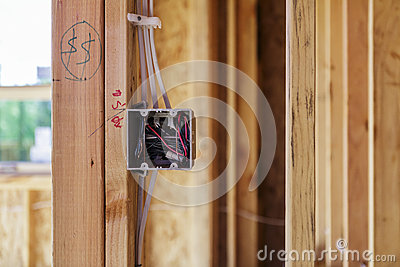 Outlet box on wooden frame, close-up