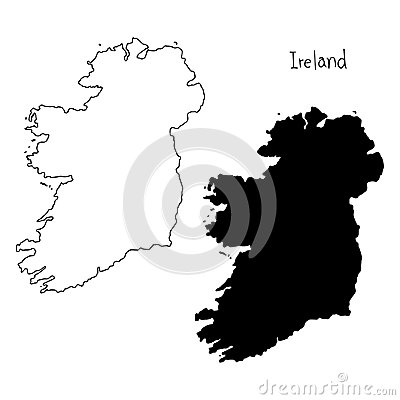 Free Outline And Silhouette Map Of Ireland - Vector Illustration Hand Stock Photos - 100821973