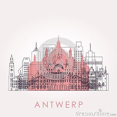 Free Outline Antwerp Skyline With Landmarks. Stock Photos - 132366183