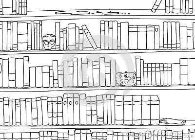 Coloring Page Bookshelf