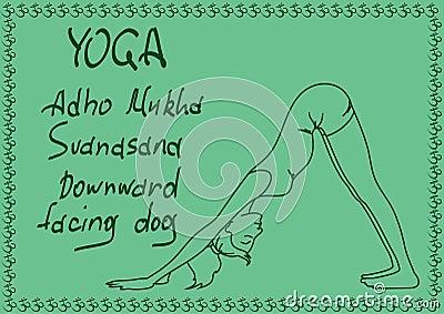 Outline girl in Downward Facing Dog yoga pose