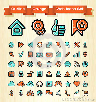Outline Grunge Web Icons Set