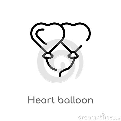 outline heart balloon vector icon. isolated black simple line element illustration from love & wedding concept. editable vector Vector Illustration