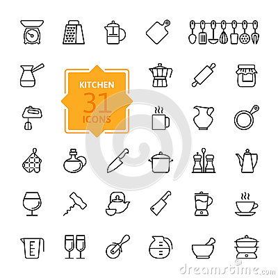 Free Outline Icon Collection - Cooking Tools And Utensils Stock Photos - 63667683
