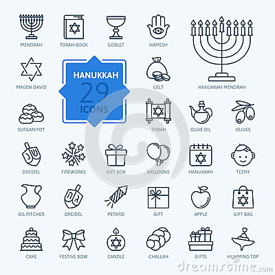 Free Outline Icon Collection - Symbols Of Hanukkah Royalty Free Stock Photography - 62375047