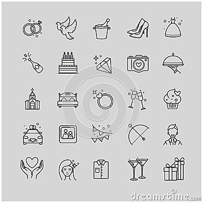 Outline icons - wedding, love set Vector Illustration