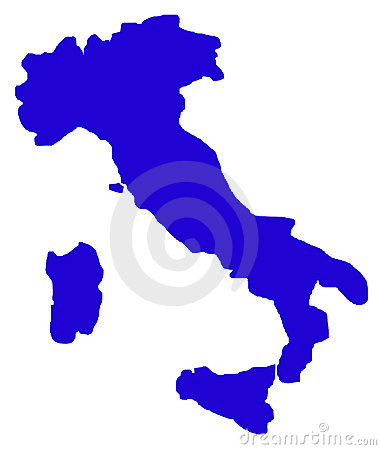 Outline map of Italy on white