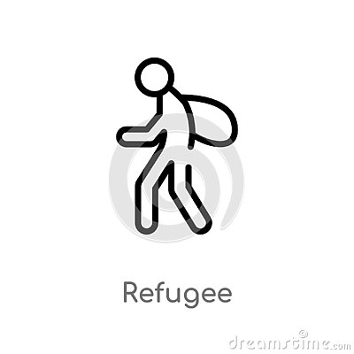 outline refugee vector icon. isolated black simple line element illustration from miscellaneous concept. editable vector stroke Vector Illustration