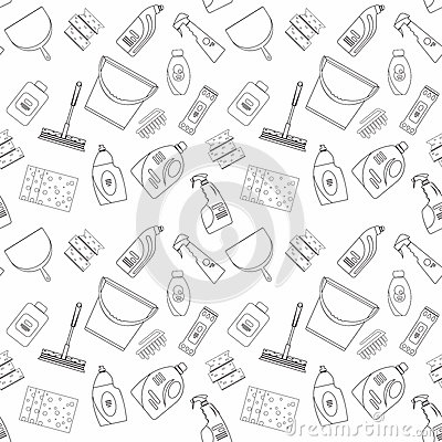 Free Outline Seamless Cleaning Products And Equipment Background Pattern. Royalty Free Stock Photo - 70177375