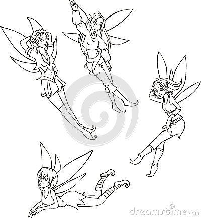 Outline set of cute fairies
