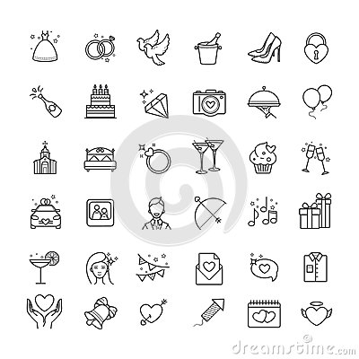 Outline set- wedding, love vector icons Vector Illustration