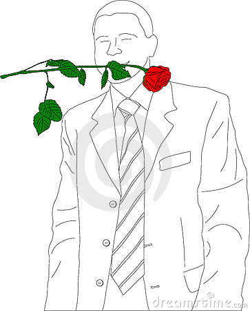 Outline sketch of businessman