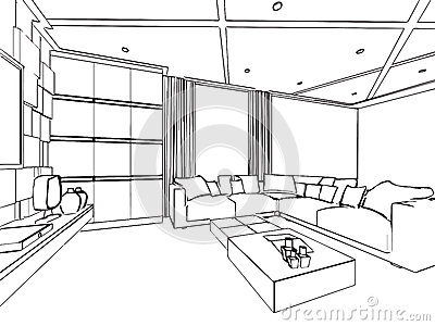 Outline sketch drawing interior perspective of house stock for Disegno di una casa