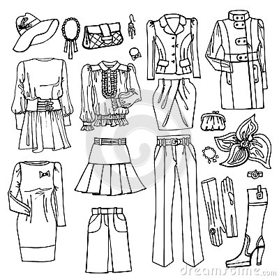 Fashion Sketch.Females Clothing And Accessories Stock Vector ...