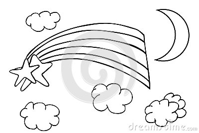 Outline Sketch Rainbow And Cloud Stock Vector Image