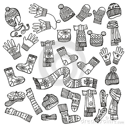 Outline sketchy females knitted clothing stock vector image 47924036 - Autumn plowing time all set for winter ...