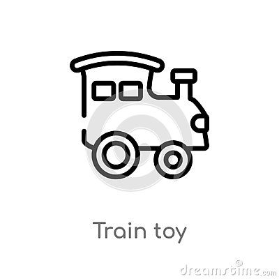 outline train toy vector icon. isolated black simple line element illustration from toys concept. editable vector stroke train toy Vector Illustration
