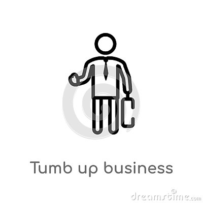 outline tumb up business man vector icon. isolated black simple line element illustration from people concept. editable vector Vector Illustration