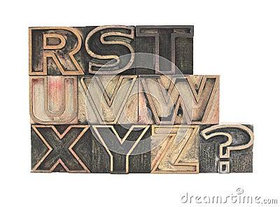 Outline typeface letters R-Z