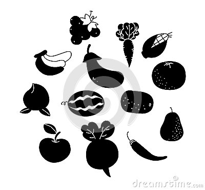 Outline vegetables and fruits