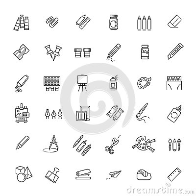 Free Outline Web Icon Set - Drawing Tools Stock Photos - 74917093