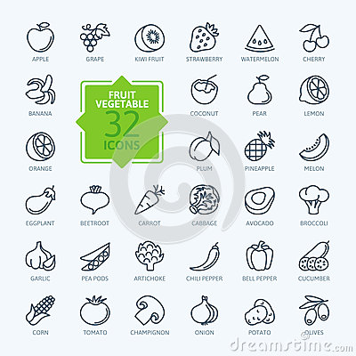 Free Outline Web Icon Set - Fruit And Vegetables Stock Images - 58436634