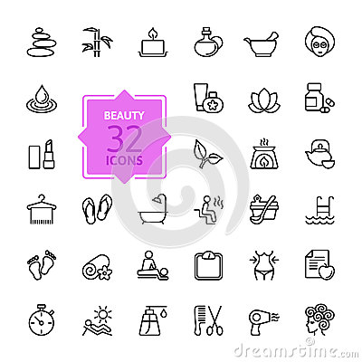 Free Outline Web Icon Set - Spa & Beauty Stock Photos - 51653593