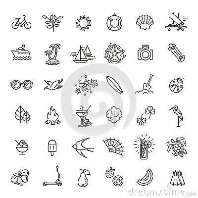 Free Outline Web Icon Set - Summer, Vacation, Beach Royalty Free Stock Images - 89840389
