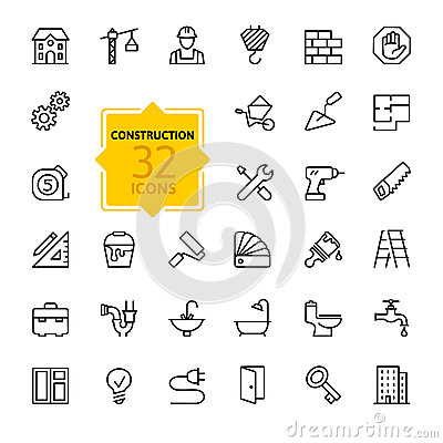 Free Outline Web Icons Set - Construction, Home Repair Tools Royalty Free Stock Photos - 51693478