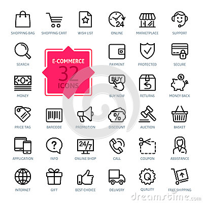 Free Outline Web Icons Set - E-commerce Stock Photos - 51360473