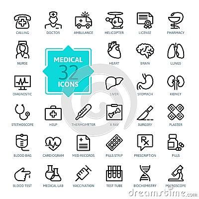 Free Outline Web Icons Set - Medicine And Health Symbols Royalty Free Stock Photos - 51360498