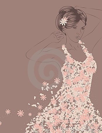 Outline of woman with flowery dress