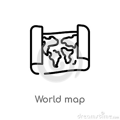 outline world map vector icon. isolated black simple line element illustration from education concept. editable vector stroke Vector Illustration